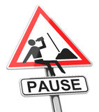 The pause. 3d generated picture of a resting worker on a traffic sign Stock Image