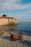 Pause de café à la plage Images libres de droits