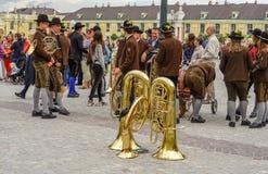 Pause de musiciens au palais de Schonbrunn photo stock