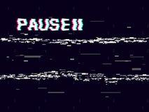Pause de problème avec le symbole sur le fond foncé Rétro contexte de VHS Déformations blanches abstraites Effet de cassette vidé illustration libre de droits
