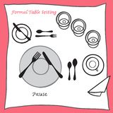 Pause Dining table setting proper arrangement of cartooned cutlery Stock Images
