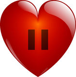 Pause. Glassy Heart. Pause. Glassy Red Heart Button on White. Isolated with Clipping Path Stock Photo