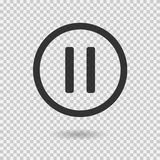 Pause icon with shadow. Vector button for web or app stock illustration