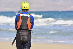 Pause during learning process how to kiteboarding Stock Image