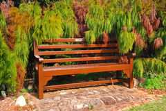 Pause for a moment (wooden bark bench) Stock Image