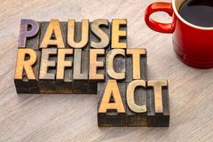 Pause, reflect, act concept - word abstract in wood type. Pause, reflect, act concept - word abstract in vintage letterpress wood type printing blocks with a cup royalty free stock photography
