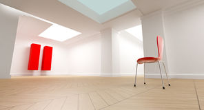 Pause room. 3D rendering of a white room with a red chair looking at  a big red pause symbol Royalty Free Stock Photos