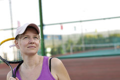 The pause in tennis training Royalty Free Stock Image