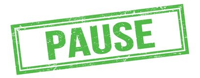Free PAUSE Text On Green Grungy Vintage Stamp Stock Image - 216821791