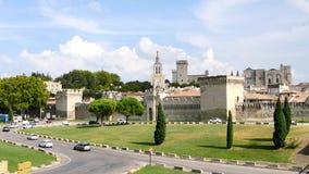 Pauselijk paleis in de stad van Avignon, Frankrijk stock footage