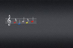 Pauta musical da música com notas musicais coloridas no fundo escuro imagem de stock