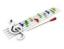 Pauta musical da música no 3D Imagem de Stock Royalty Free