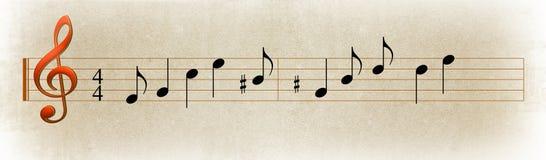 Pauta musical & notas da música Imagens de Stock