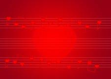 Pauta musical vermelha com notas dos corações Fotografia de Stock