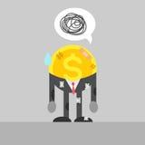 Pauvre homme d'affaires de pièce de monnaie blessé Illustration Stock