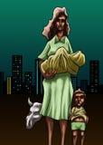 Pauvre mère illustration libre de droits