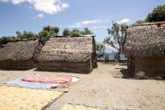 Pauvres cultivateurs d'algue de hutte, Nusa Penida, Indonésie photo libre de droits
