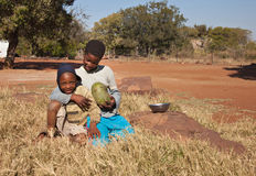 Pauvres enfants africains Photos stock