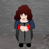 Pauvres, fille triste de petit enfant s'asseyant contre le mur en béton Illustration de vecteur Images libres de droits