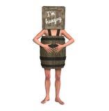 Pauvreté pauvre Person Wearing Barrel j'ai faim Images stock