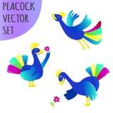 Pauwen vectorreeks vector illustratie