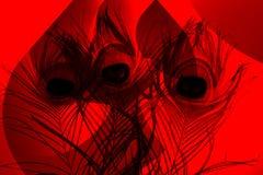 Pauwvaders met abstracte vector rode en zwarte in de schaduw gestelde Achtergrond Vector illustratie royalty-vrije stock afbeelding