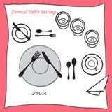 Pauzuje Łomotający stołowego położenia właściwego przygotowania cartooned cutlery royalty ilustracja