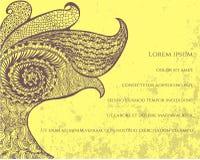 Pavão abstrato no fundo amarelo, cartão Ilustração Stock