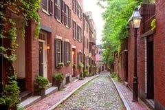 Pavé rond Boston de Beacon Hill de rue de gland Photos stock