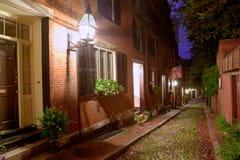 Pavé rond Boston de Beacon Hill de rue de gland Images libres de droits