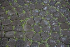 Pavés gris Greypaving pavé en cailloutis par trottoir Photos stock