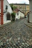 Pavés ronds dans la vieille ville, vieux Prague, République Tchèque Photos stock