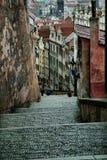 Pavés ronds dans la vieille ville, vieux Prague, République Tchèque Photographie stock