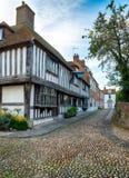 Pavés ronds et Tudor Houses image stock