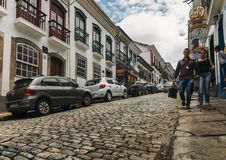 Pavés ronds historiques dans Ouro Preto, Brésil Photo libre de droits