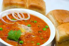 Pav Bhaji. Indian Dish 'Pav Bhaji', mix vegetable curry served with Bread Stock Image