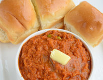 Pav Bhaji. Indian Dish 'Pav Bhaji', mix vegetable curry served with Bread Royalty Free Stock Photos