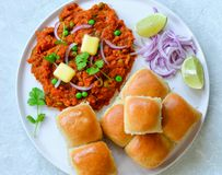 Pav Bhaji-Marathi cuisine. Indian Dish `Pav Bhaji`, is a mix vegetable curry served with Buns also known as Pav.It is usually eaten in Maharashtra as a snack or Royalty Free Stock Image