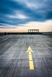 Paved arrow on the roof of a parking garage in Harrisburg, Penns Royalty Free Stock Images