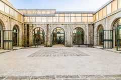 paved courtyard of ancient greenhouse Royalty Free Stock Photos