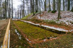 Paved Dacian ancient road at Sarmisegetuza. Sarmizegetusa was the capital capital of the Dacian Empire. Today is a UNESCO World Heritage Site Stock Photo
