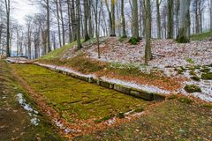 Paved Dacian ancient road at Sarmisegetuza. Sarmizegetusa was the capital capital of the Dacian Empire. Today is a UNESCO World Heritage Site Stock Image