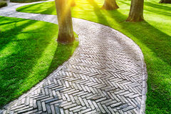 Paved footpath in spring park Royalty Free Stock Photo