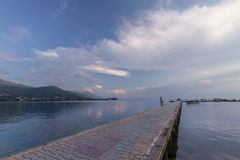 Paved gangplank over Lake Ohrid Stock Photos