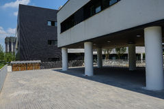 Paved ground outside newly built modern building Stock Photo