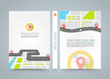 Paved path on the road. banner road book. A4 size. Paper, Vector background Stock Illustration