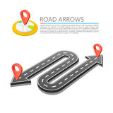 Paved path on the road, Road arrow location, Vector background Stock Photography