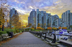 Paved pathway along Coal Harbour in Vancouver, Canada. stock images