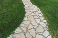 Paved pathway and  green lawn Stock Photography
