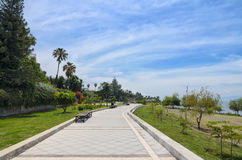 Paved pedestrian road along Chapala lake Stock Images